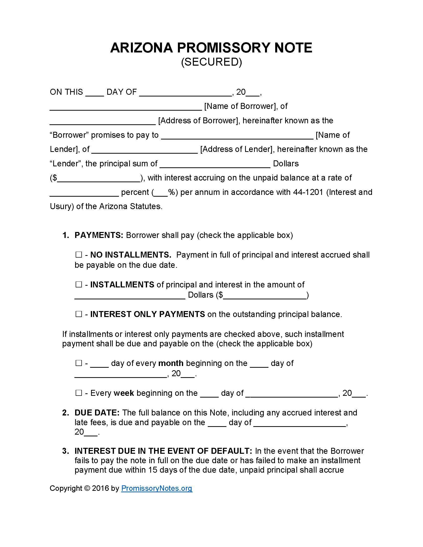Form Of Promissory Note California