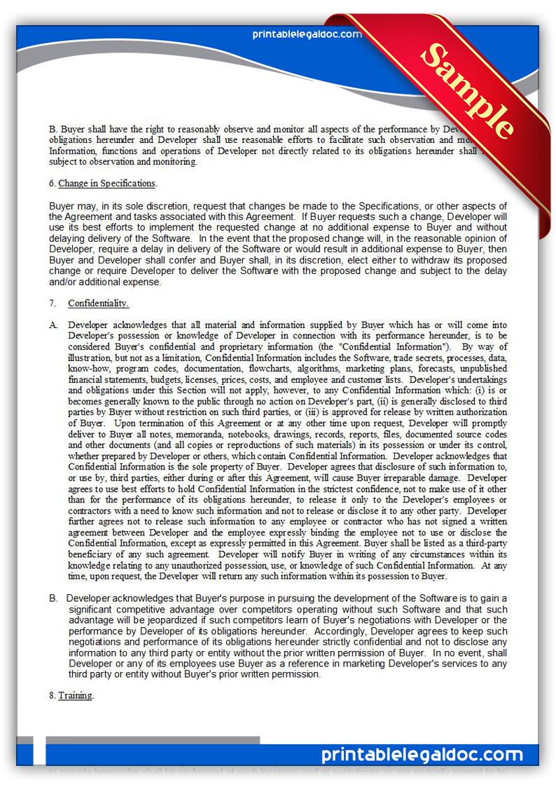 Form Software Development Agreement