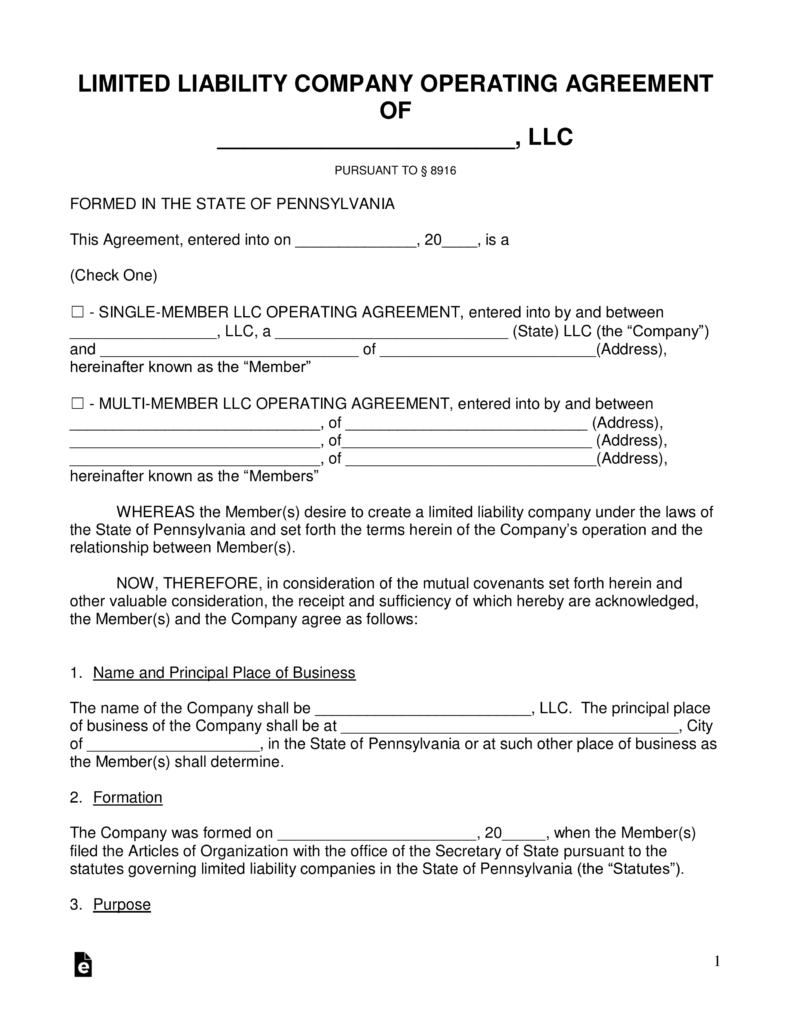 Formation Of An Llc In Pennsylvania