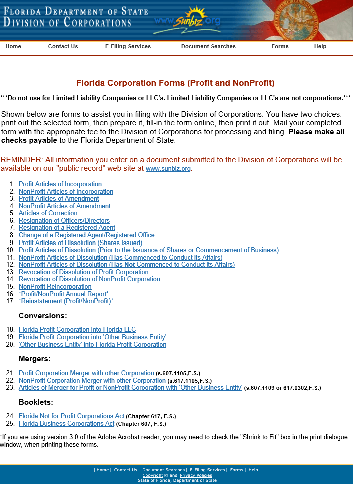 Forming A New Corporation In Florida