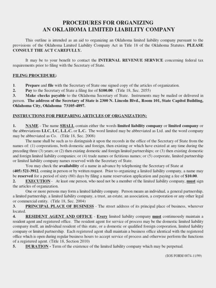 Forming An Llc In Oklahoma Secretary Of State