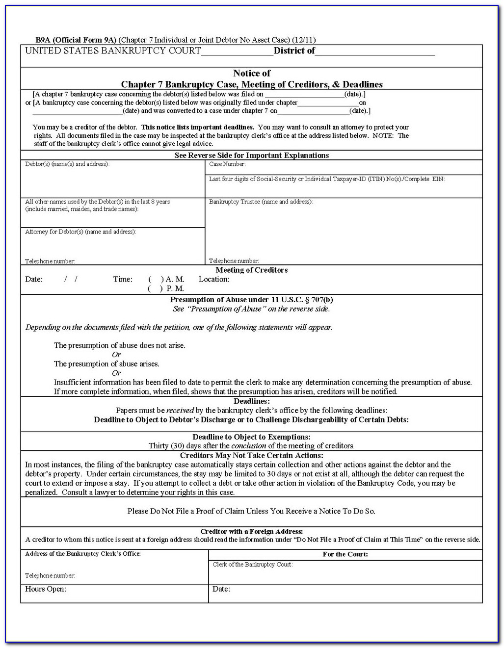 Forms For Filing Chapter 7 Bankruptcy In California