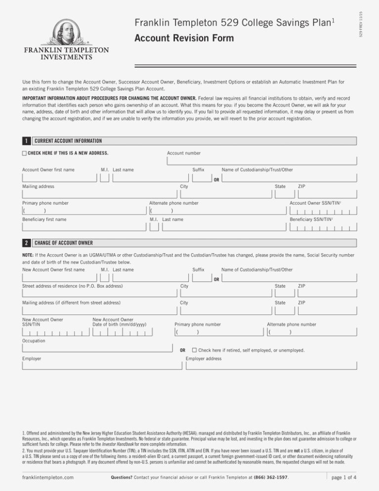 Franklin Templeton 529 College Savings Plan Account Revision Form