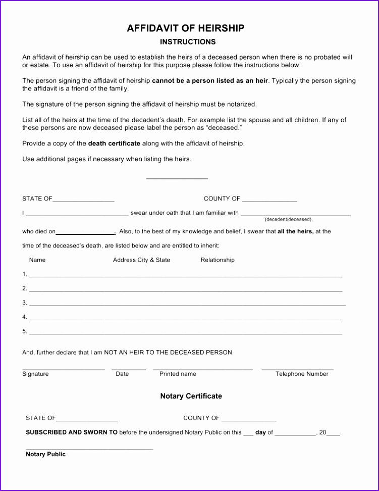 Free Affidavit Of Heirship Form Tennessee