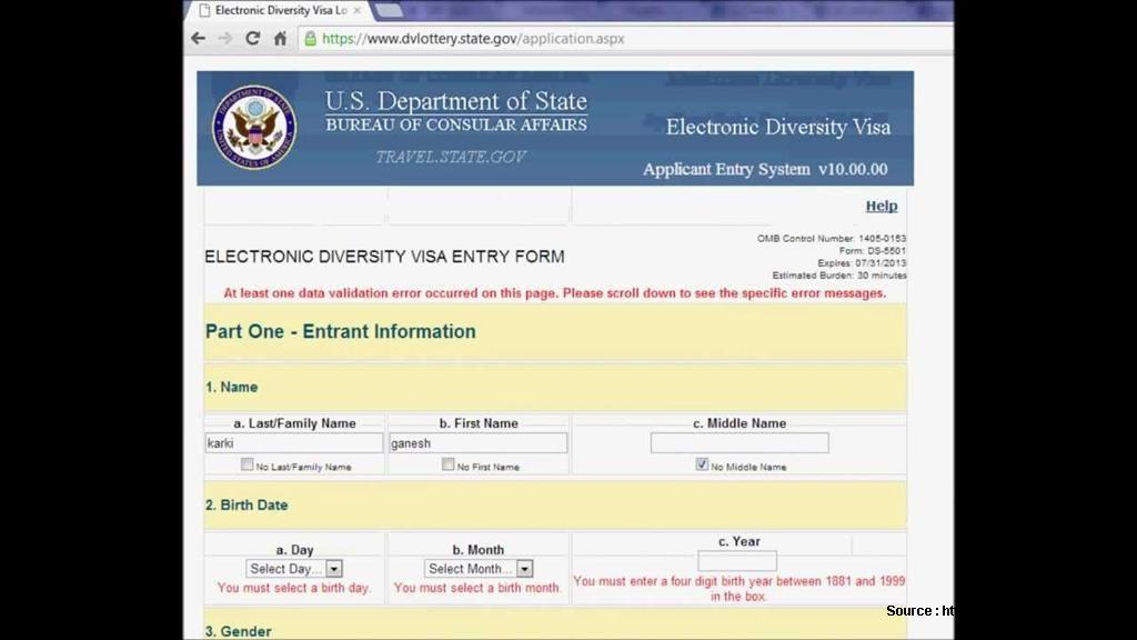Free American Visa Lottery 2017 Application Form