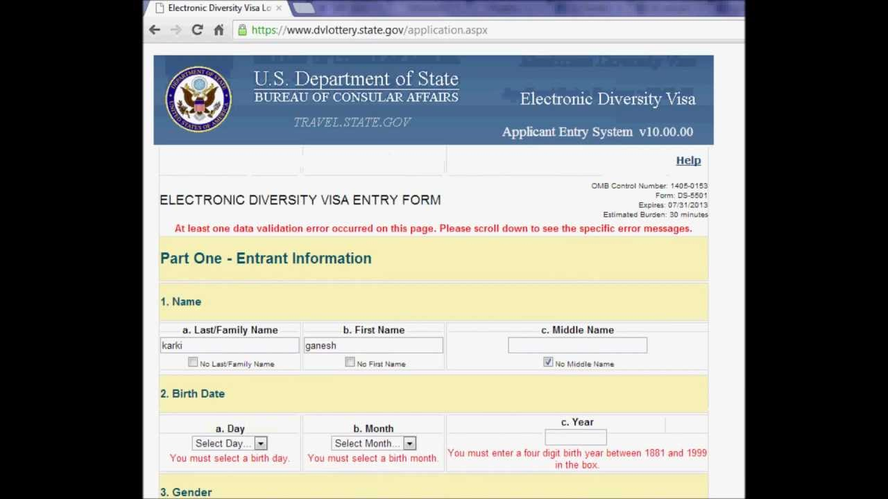 Free American Visa Lottery 2018 Application Form