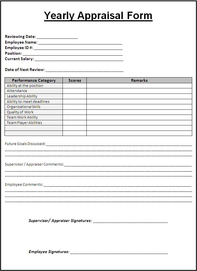 Free Appraisal Forms Templates