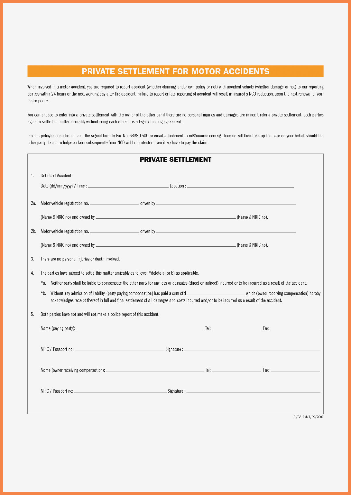 Free Auto Accident Claim Release Form