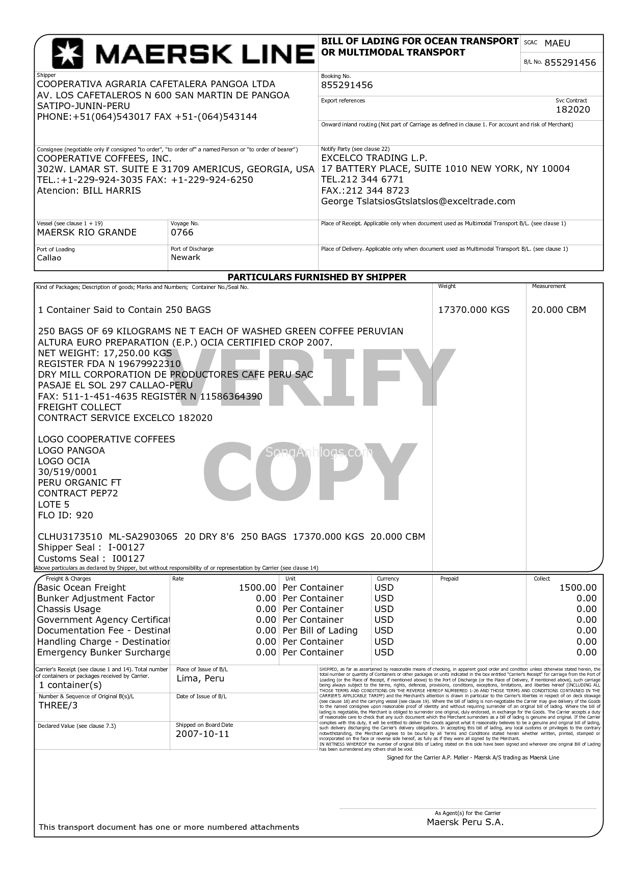 Free Bill Of Lading Form For Car Transport