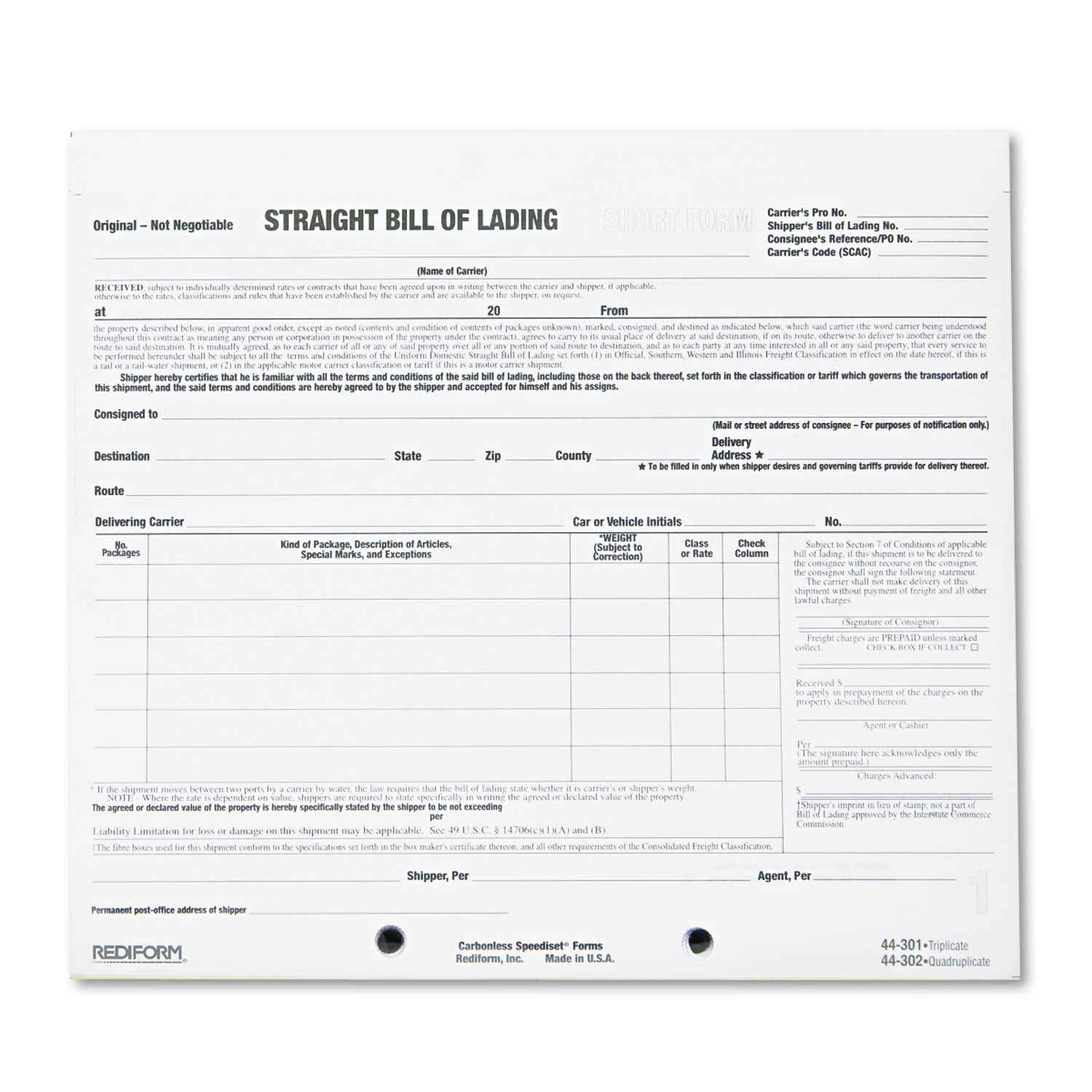 Free Bill Of Lading Short Form