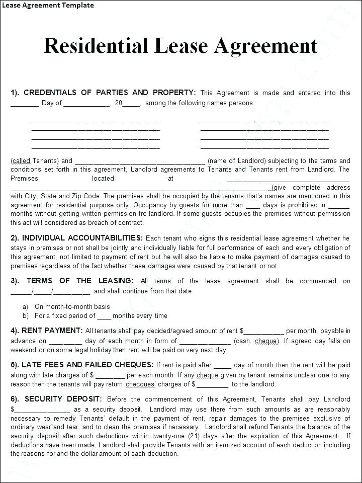 Free Blank Commercial Lease Agreement Form