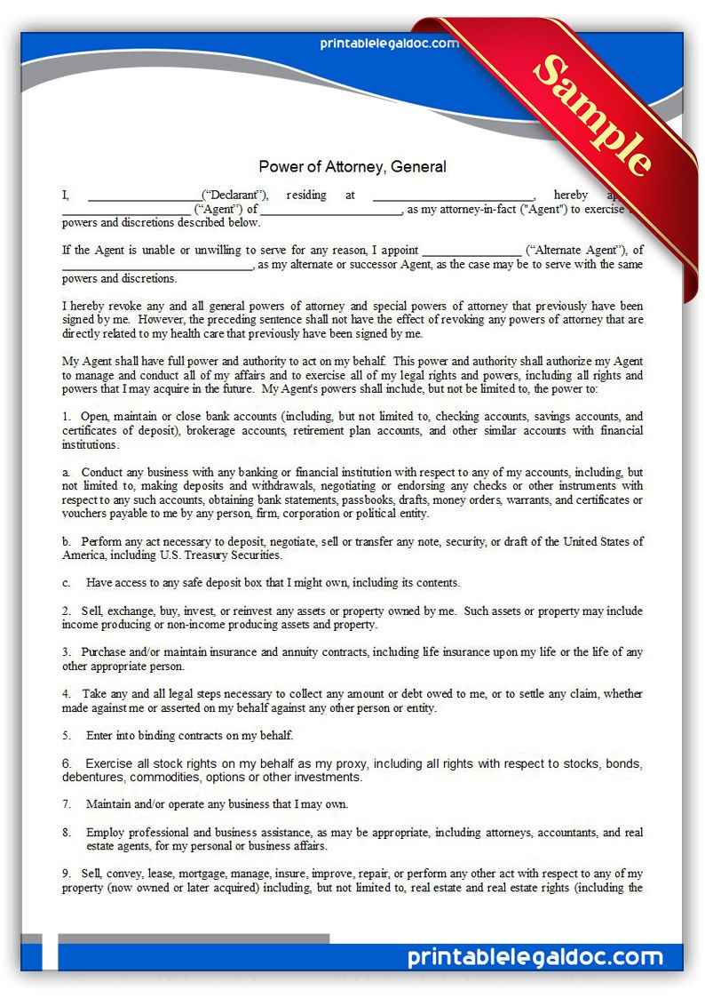 Free Blank Power Of Attorney Form Download