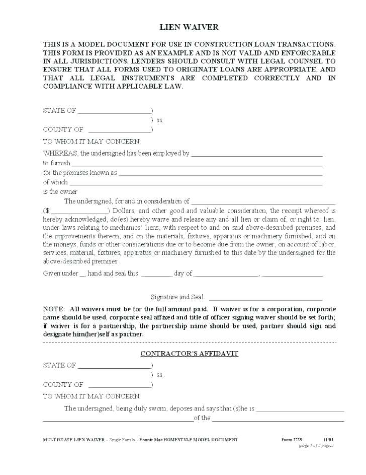 Free Blank Waiver Of Liability Form