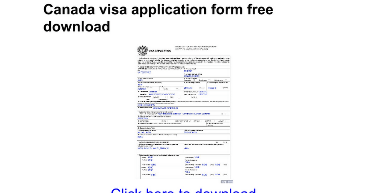 Free Canadian Visa Lottery Application Form