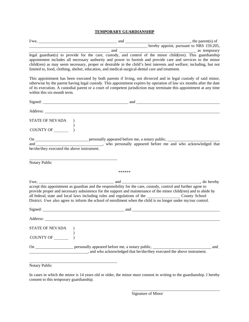 Temporary Guardianship Letter For Grandparents Free Nevada Minor Child Parent Of Minor Power Of Attorney Form