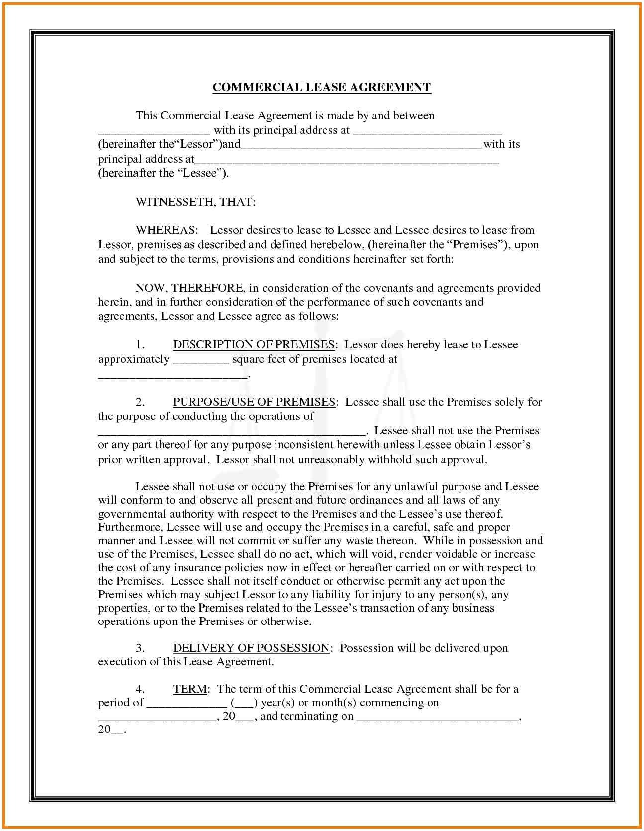 Free Commercial Lease Agreement Forms