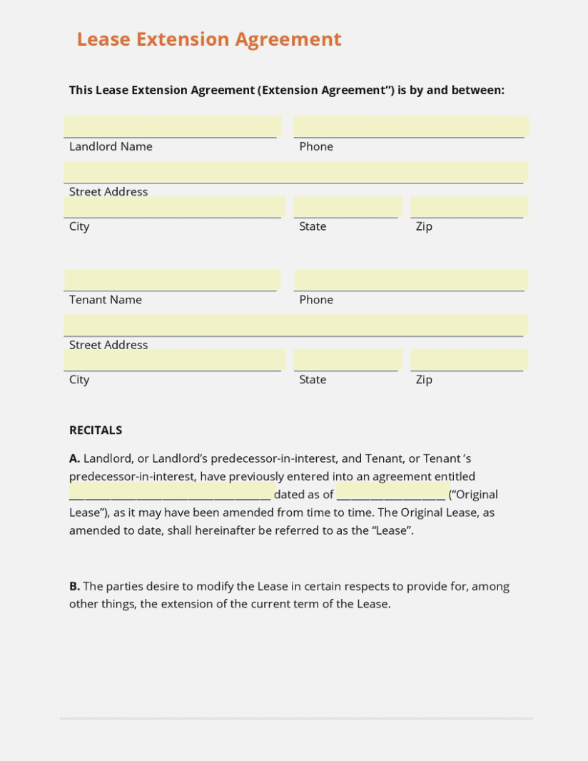 Free Commercial Lease Extension Form
