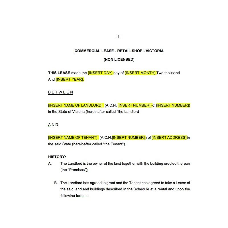 Free Commercial Lease Template Victoria