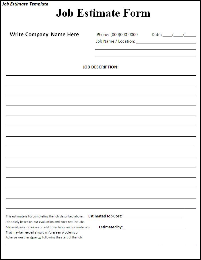 Free Construction Estimate Forms Downloads