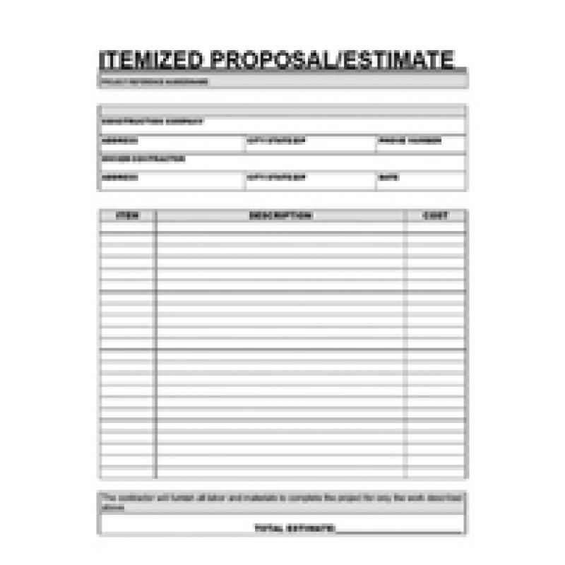 Free Contractor Estimate Forms