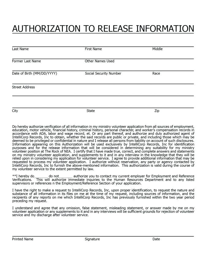 Free Criminal Background Check Authorization Form Template