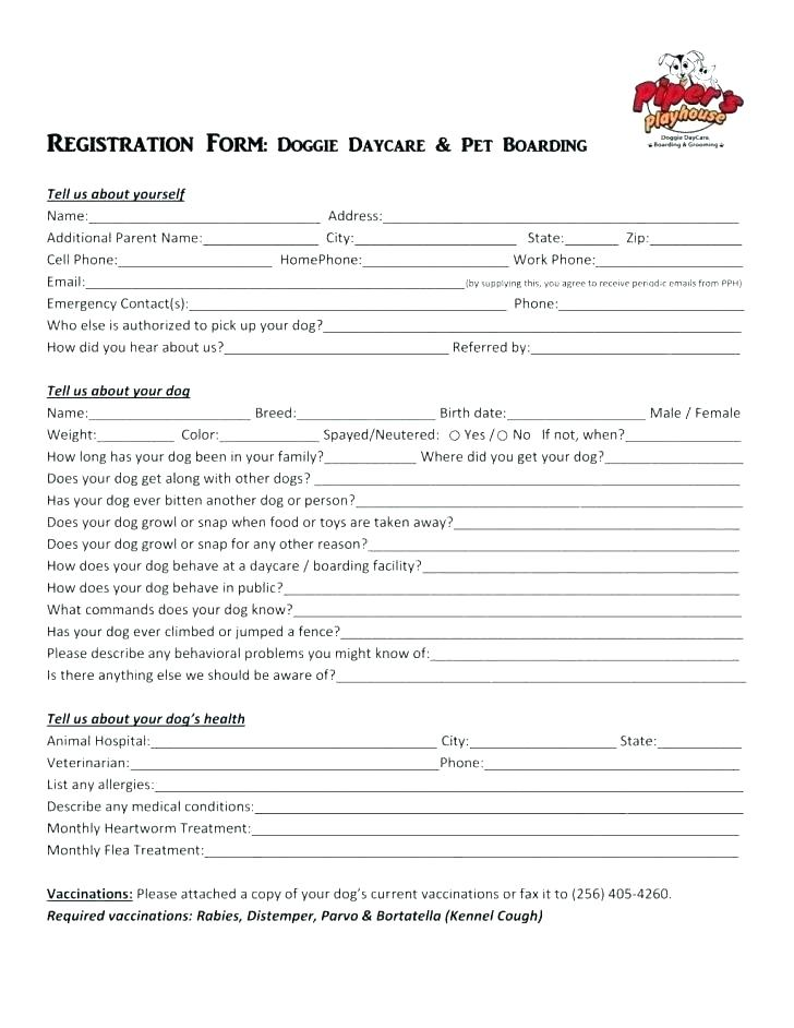Free Daycare Application Form For Parents
