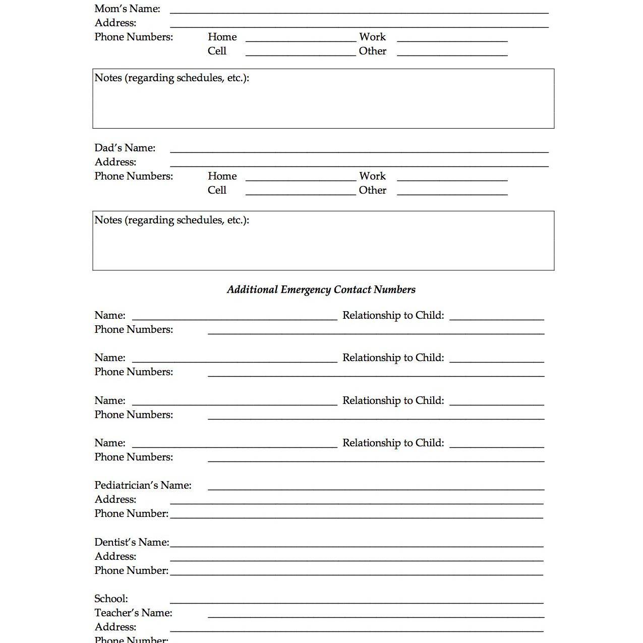 Free Daycare Forms For Parents To Fill Out