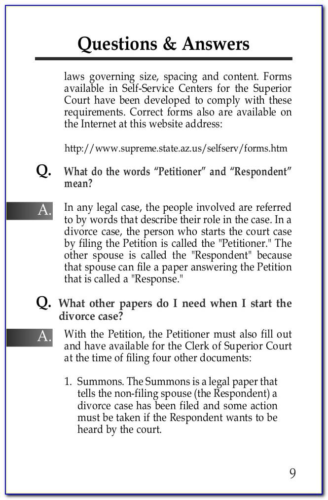 Free Divorce Forms Arizona Online