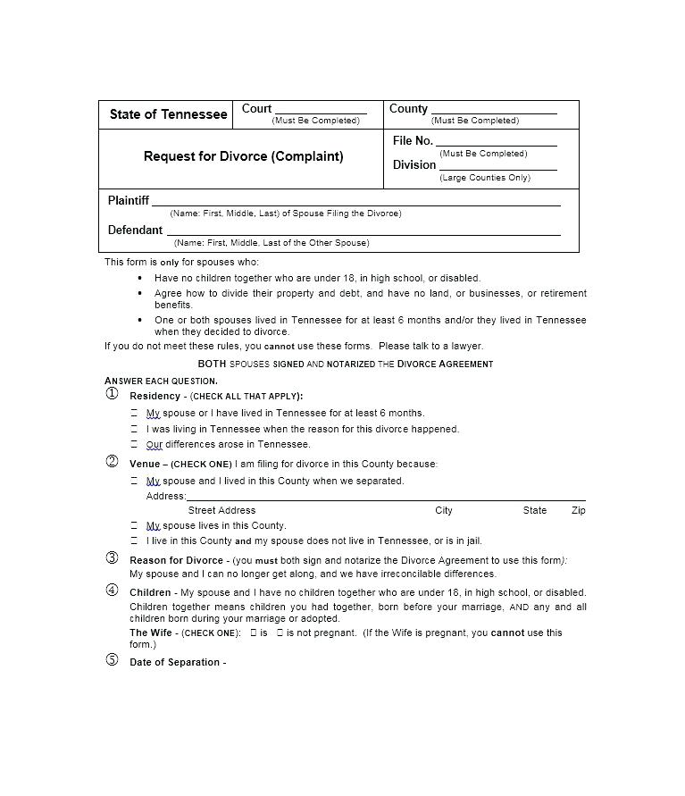 Free Divorce Forms In Nj