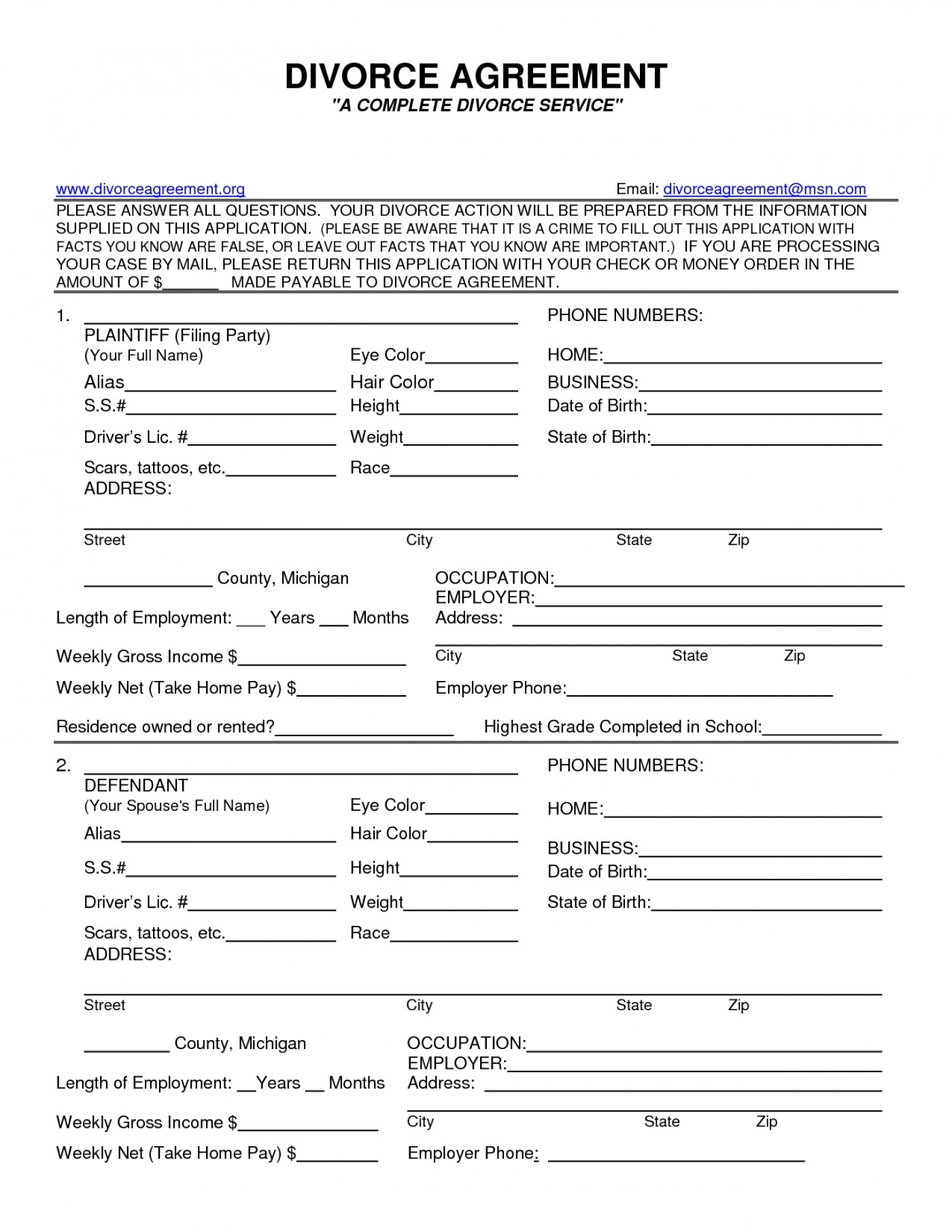Free Divorce Forms Wayne County Michigan