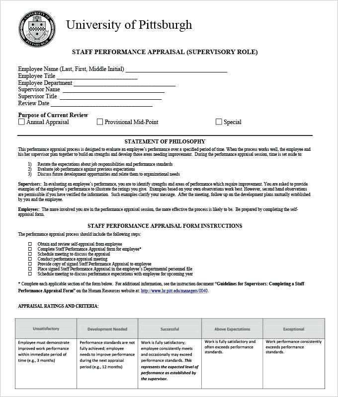 Free Download Self Appraisal Forms