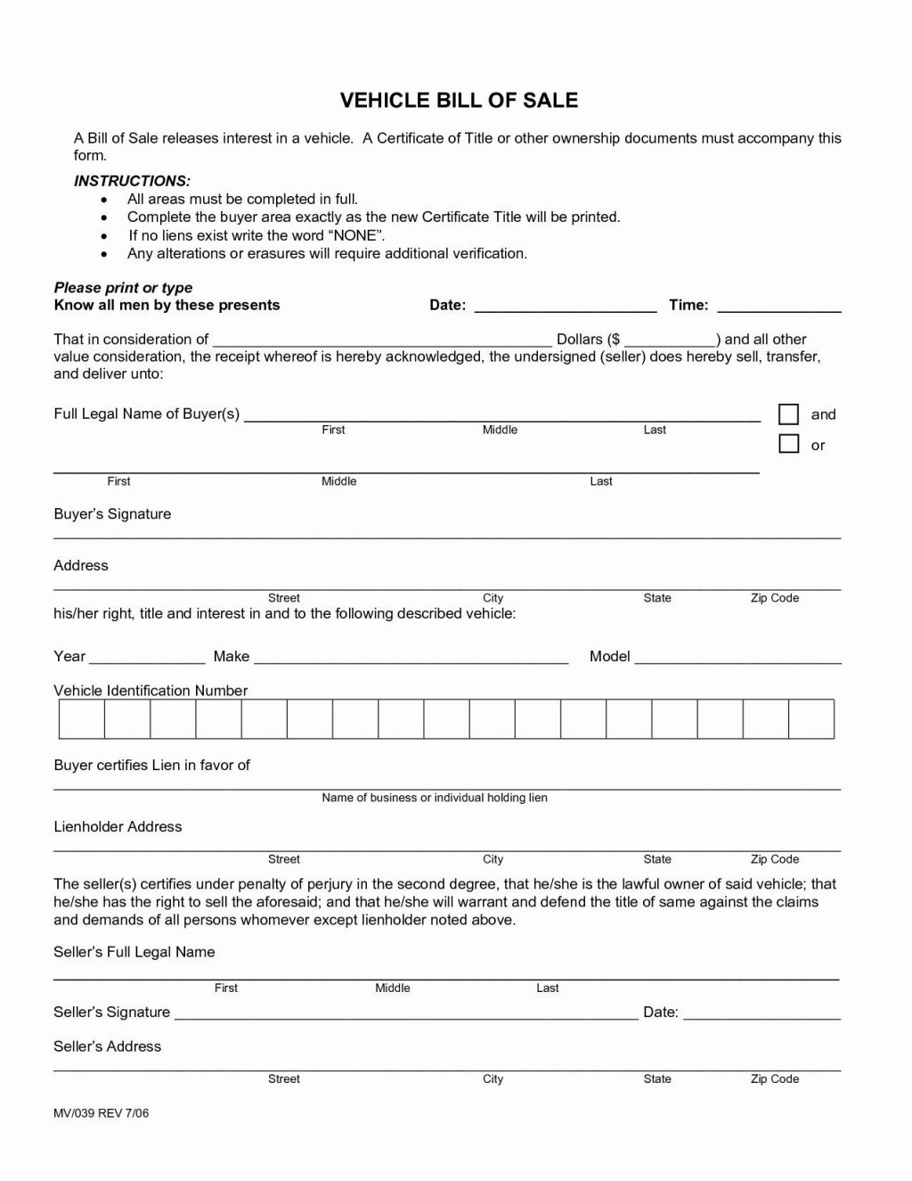 Free Downloadable Vehicle Bill Of Sale Form
