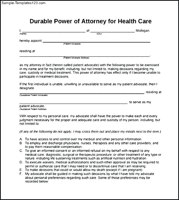 Free Durable Unlimited Power Of Attorney Form