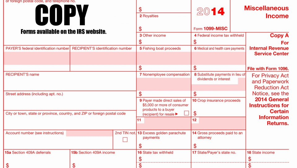 Free Fillable 1099 Misc Form 2013
