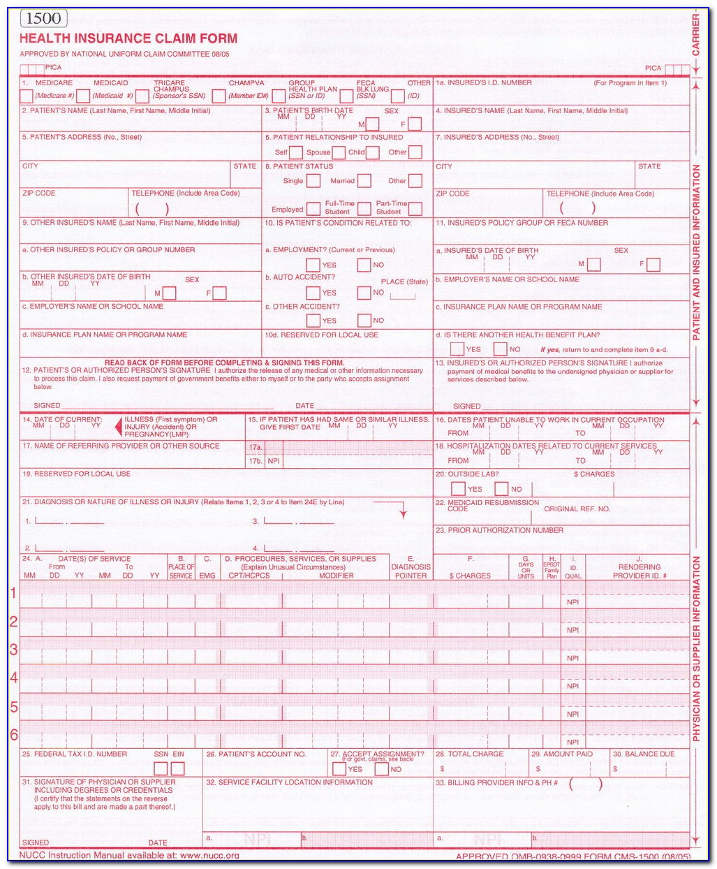 Free Fillable 1500 Claim Form