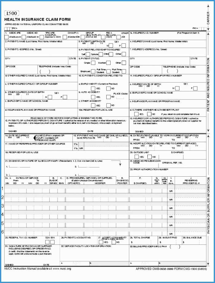 Free Cms 1500 Claim Form Template Wonderfully Hcfa 1500 Form Pdf Fillable Form Resume Examples