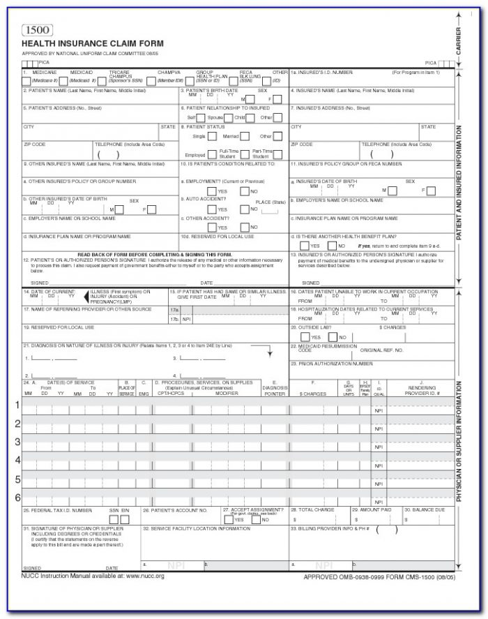 Free Fillable Hcfa 1500 Claim Form