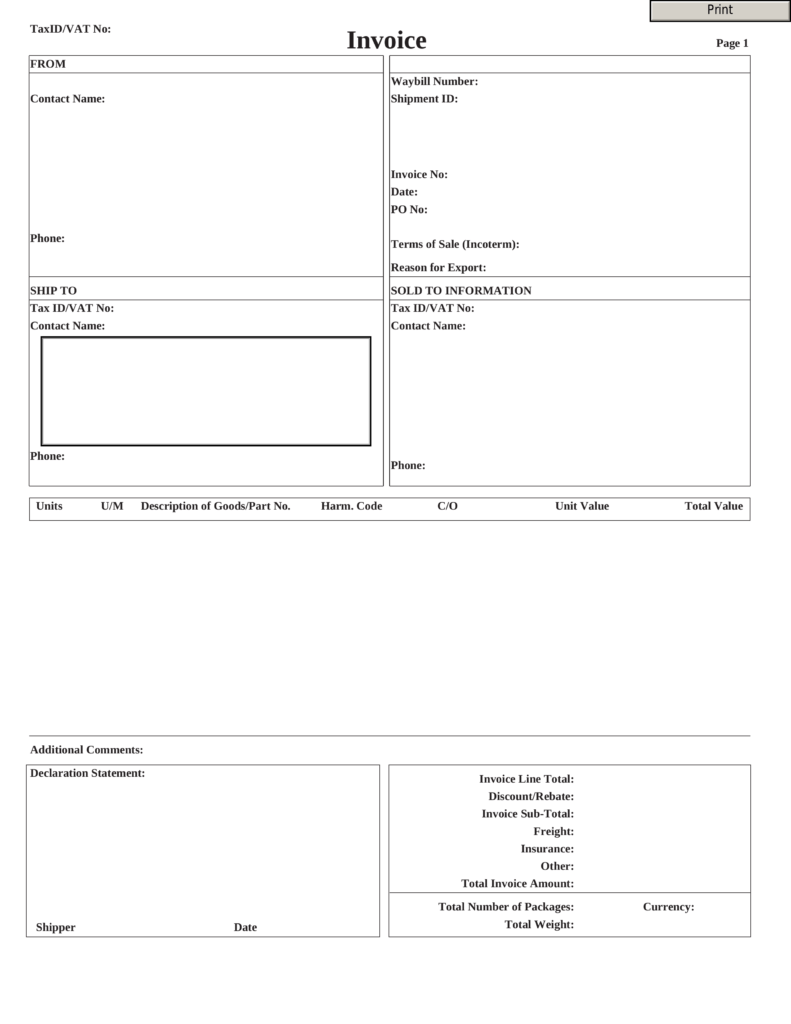 Free Fillable Invoice Template Pdf