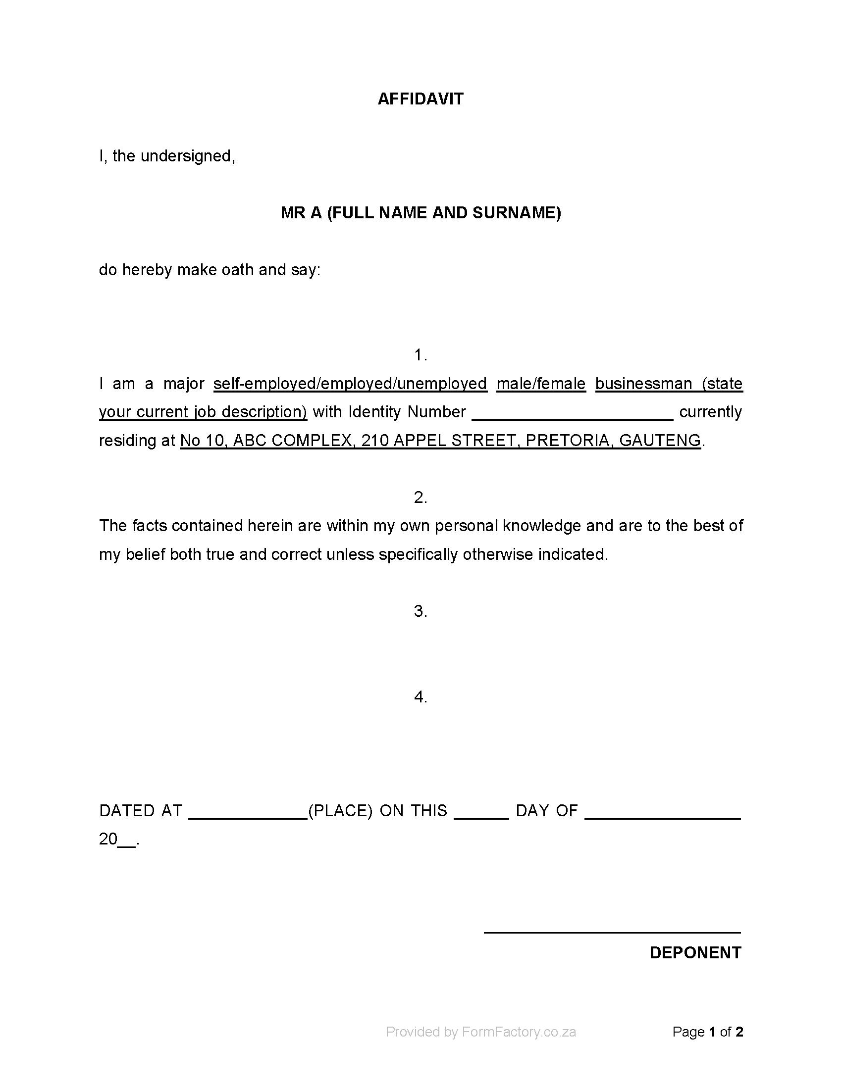 Free General Affidavit Form Download South Africa