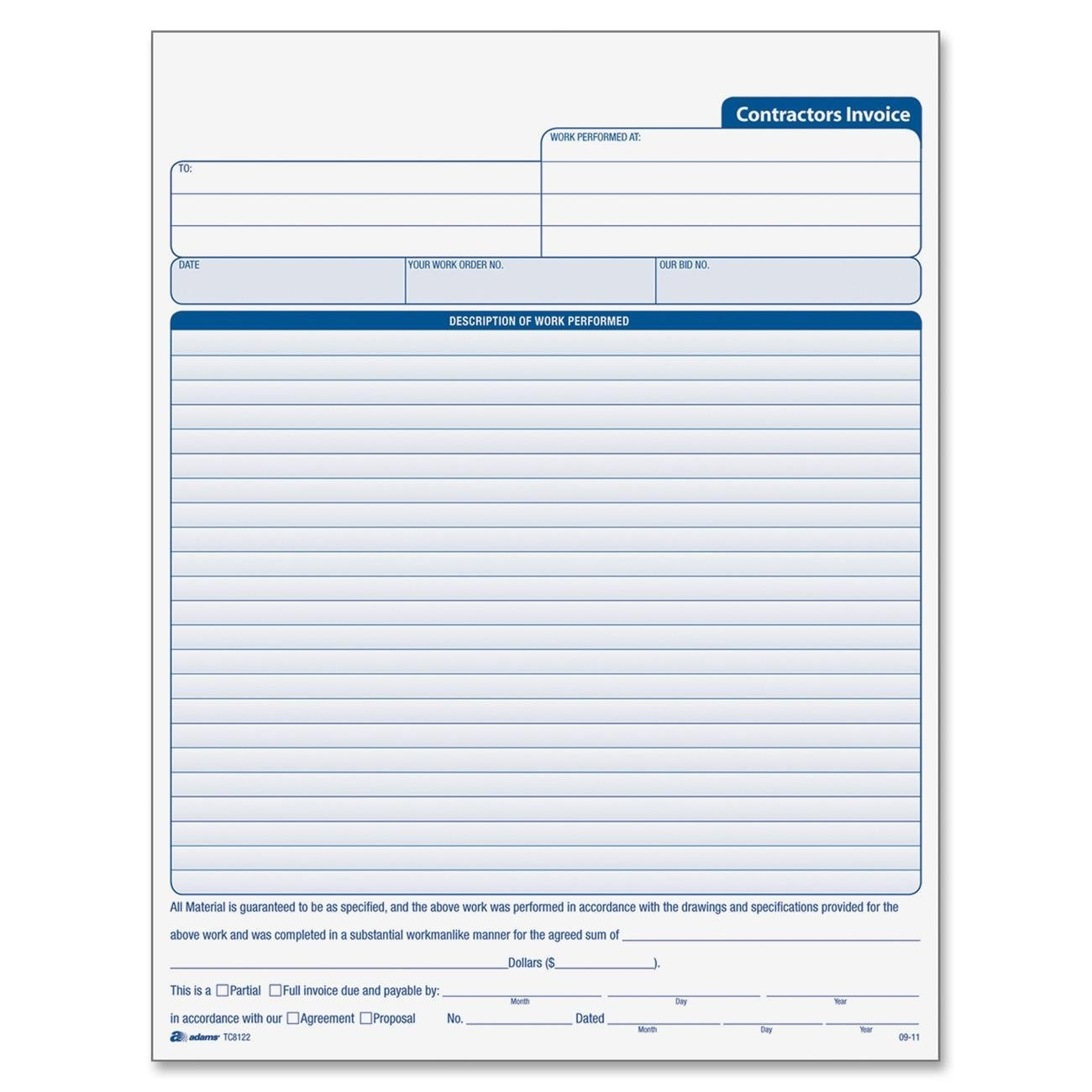 Free General Contractor Invoice Forms