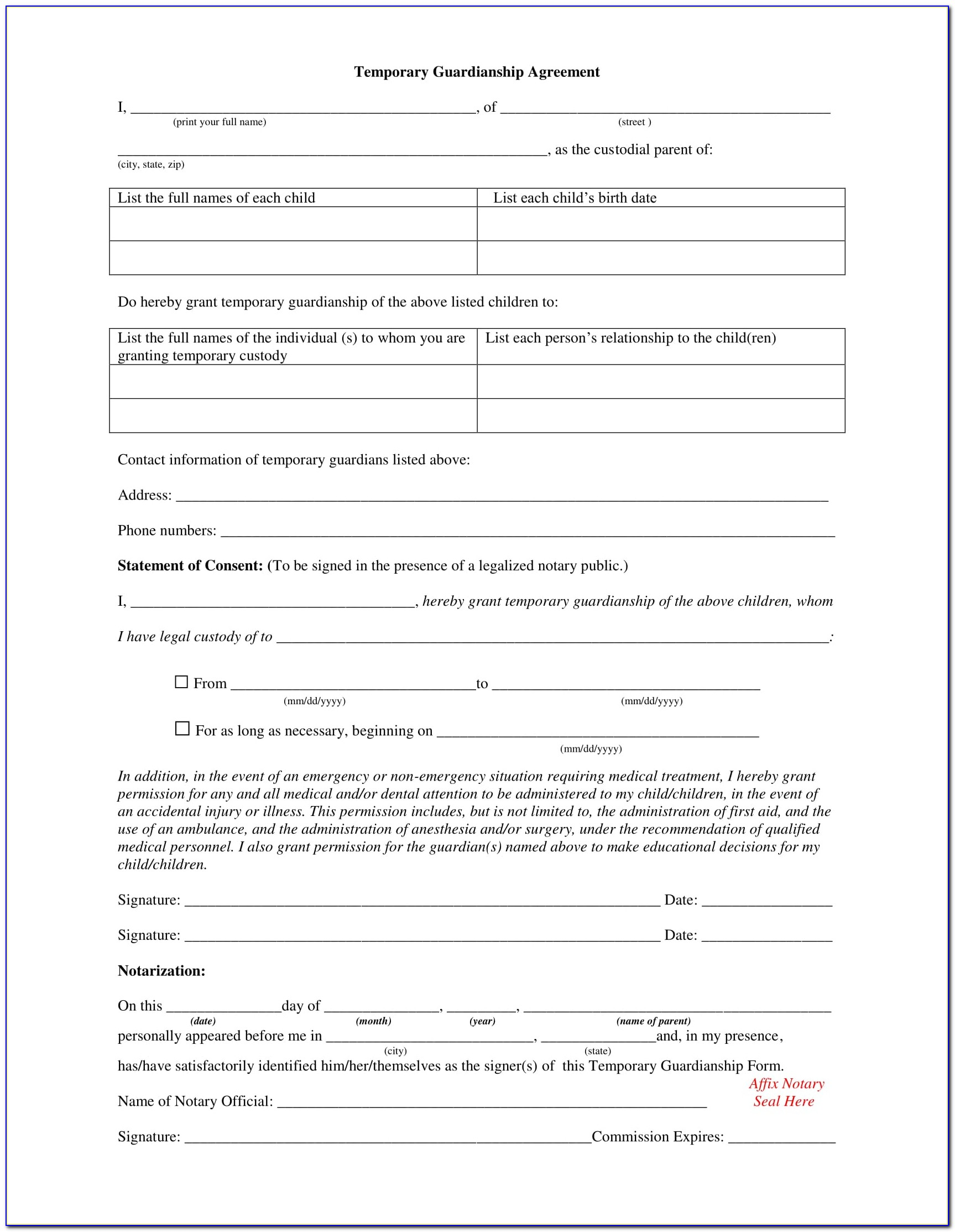 Free Guardianship Forms Oregon