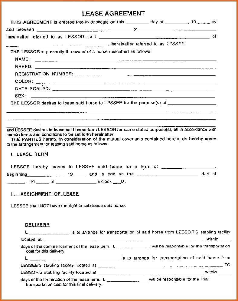 Free Horse Lease Contract Forms