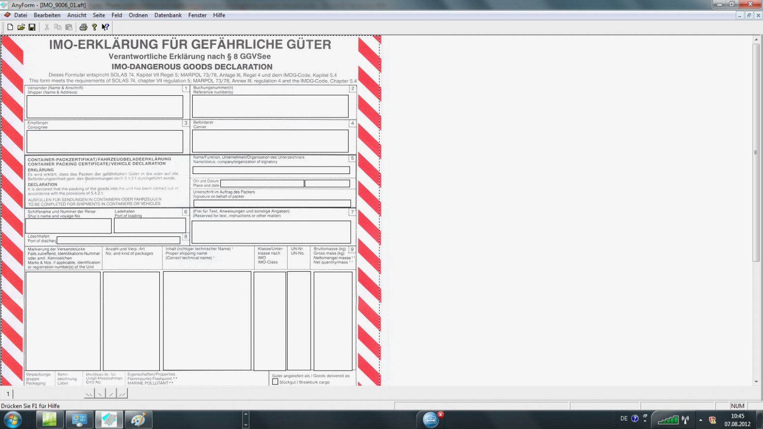 Free Imo Dangerous Goods Declaration Form Fillable