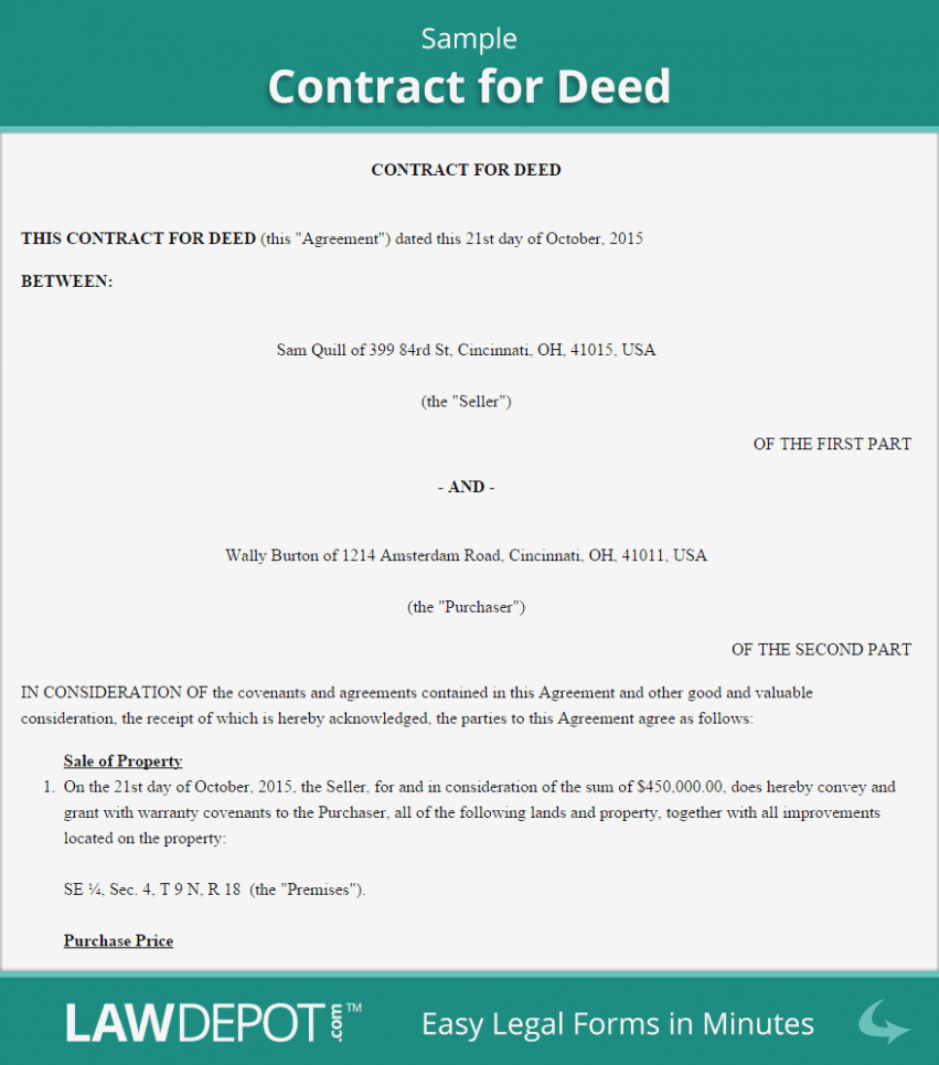 Free Land Contract Forms Florida