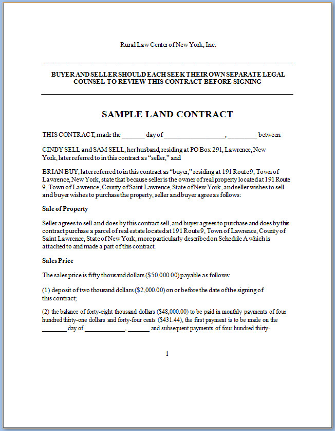 Free Land Contract Forms Wv