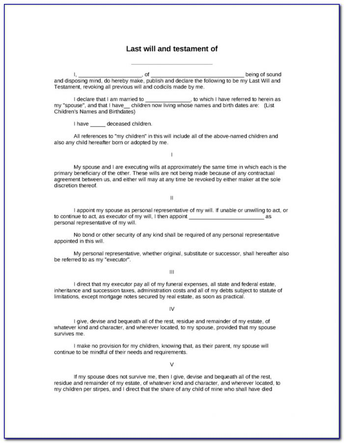 Free Last Will And Testament Form Australia