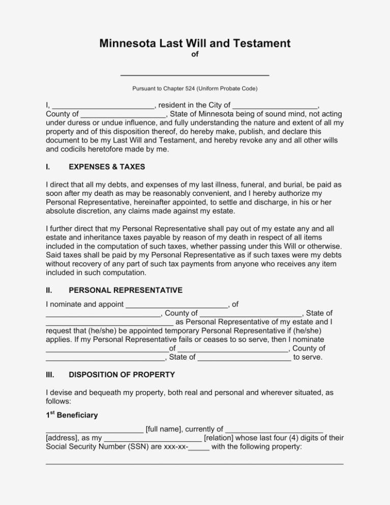 Free Last Will And Testament Form Minnesota