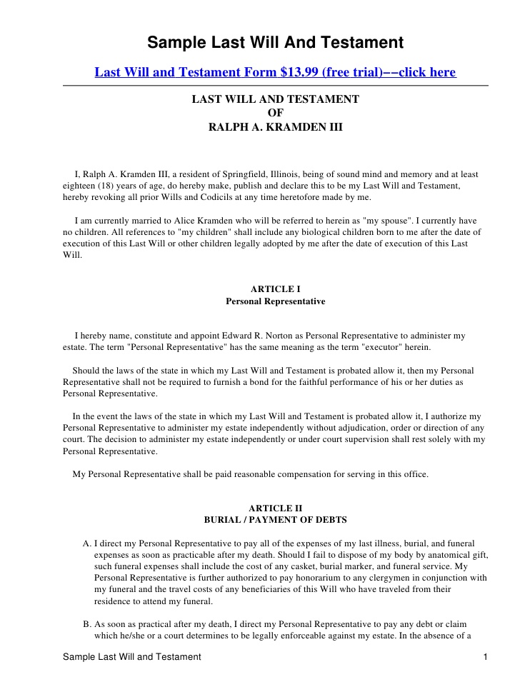 Free Last Will And Testament Form Nevada