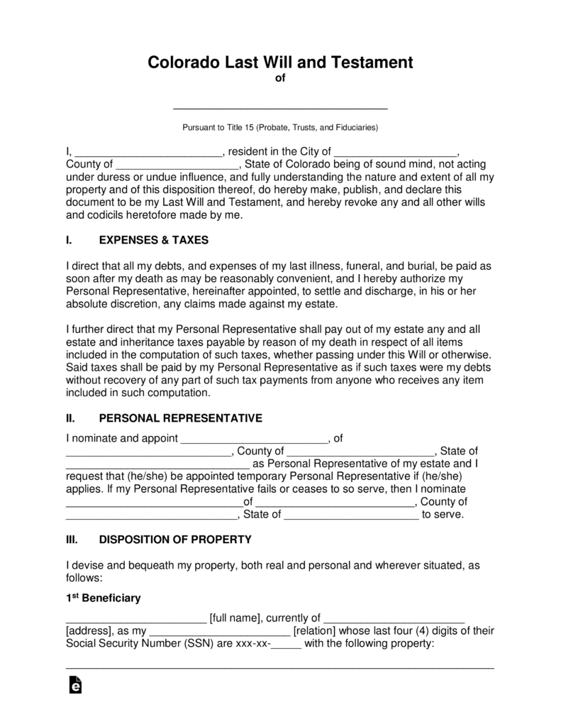 Free Last Will And Testament Forms For Colorado