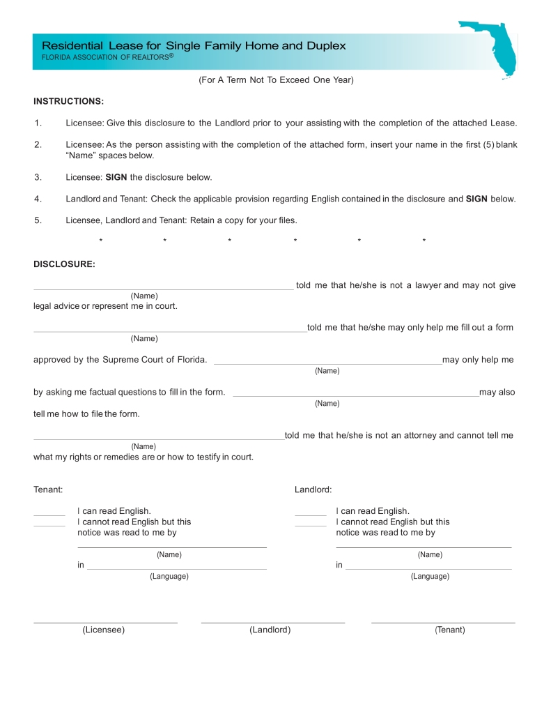 Free Lease Renewal Form Florida
